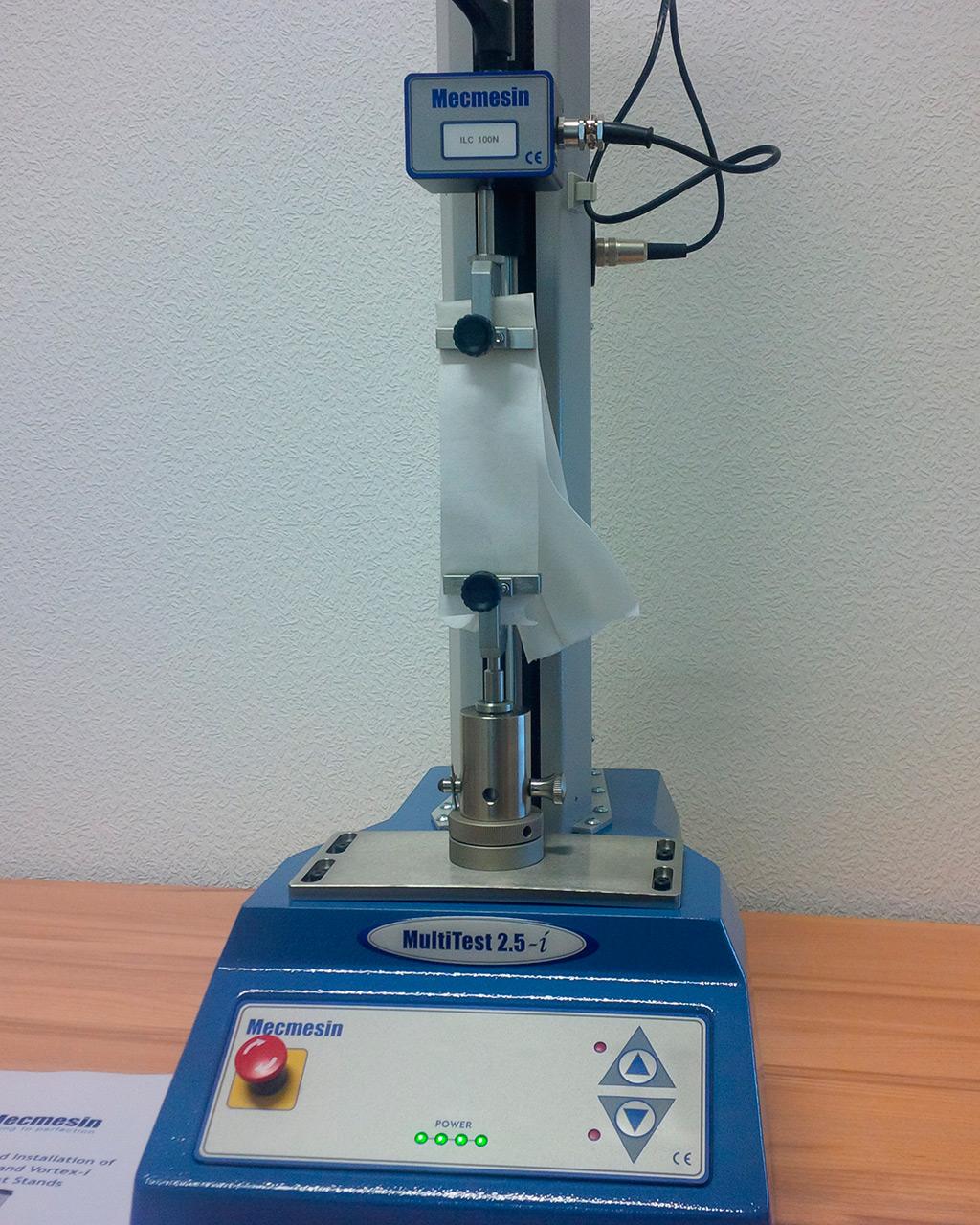 Mecmesin Multitest. Определение прочности на растяжение, растяжения при разрыве и поглощения энергии при растяжении по ISO 12625-4
